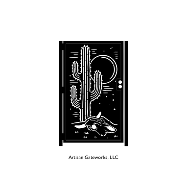 Custom Made Saguaro Decorative Steel Gate - Metal Art - Southwest Style Wall Panel Art - Desert Security Door