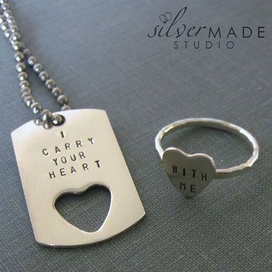 Custom Made Petite Dog Tag And Heart Ring Set