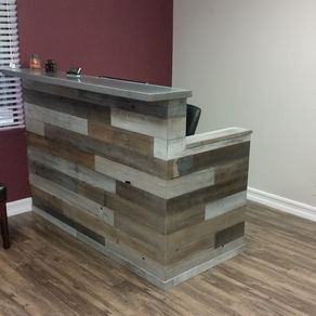 Reclaimed Wood Multi Tone Reception Desk By Mike Davis