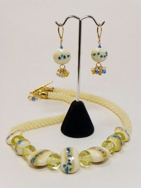 Custom Made Set - Buttercream Kumihimo Necklace With Lampwork Lentil And Rondelle Beads And Earrings