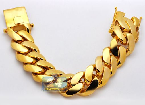 Custom Made Mens Miami Cuban Link Gold Bracelet Solid 10k Yellow 26 Mm 9 1/2 Inches