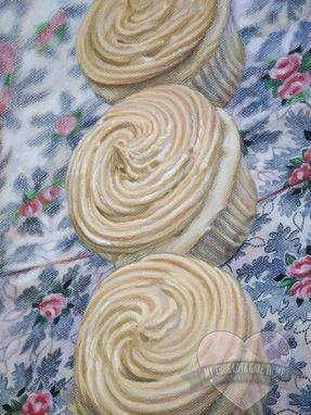 Custom Made Food Chalk Pastel Drawing, Peanut Butter Cupcakes Ii 2011
