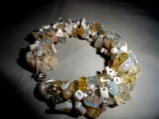Custom Made Opal Rough, Aquamarine, Citrine, Cultured Pearl Bracelet