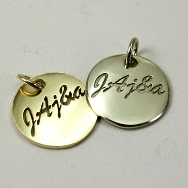 Custom Made 14k Gold Disk And A White Gold Disk Charms