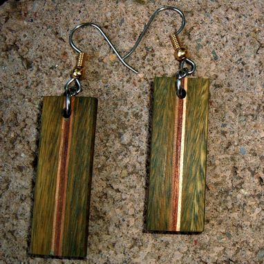 Custom Made Natural Wood Earrings Of Lignum Vitae, Cherry And Wenge..L017