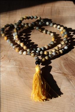 Custom Made Black Feather Jasper Mala - Stability And Confidence