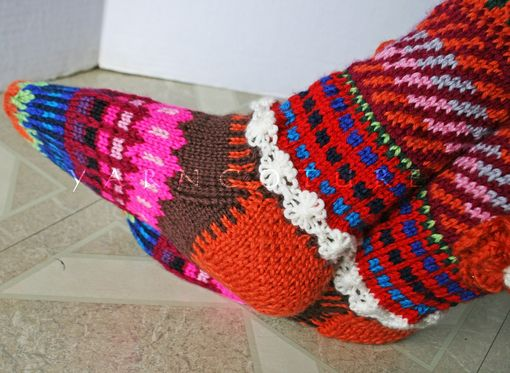 Buy Hand Made Hand Knit Fair Isle Knee High Socks W/3d Flowers ...
