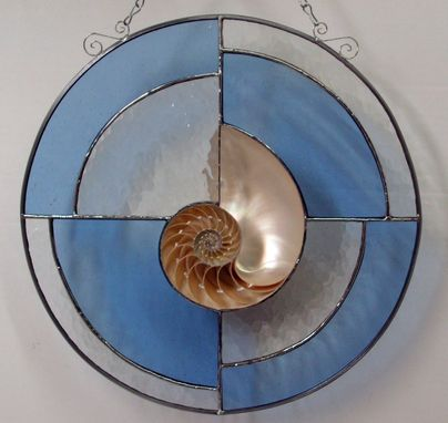 Custom Made Tiger Nautilus Shell Set In A Stained Glass Panel