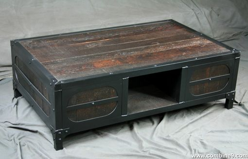 Custom Made Vintage Style Coffee Table. Reclaimed Wood And Steel Coffee Table. Rustic Coffee Table With Storage.