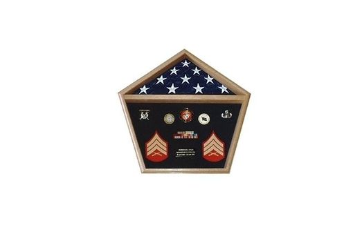 Custom Made Pentagon Military Shadow Box, Pentagon Flag Display Case