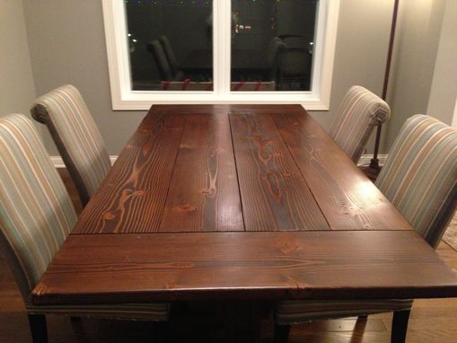 Custom Made 7' Farmhouse Trestle Table With Breadboard Ends