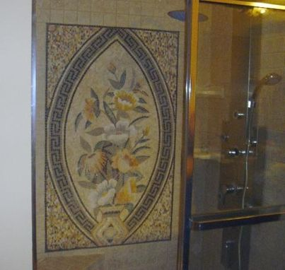 Custom Made Mosaic Installed In A Bathroom Wall/Floor
