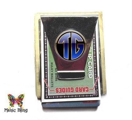 Custom Made Monogram Money Clip Card Holder - Glass And Stainless Steel