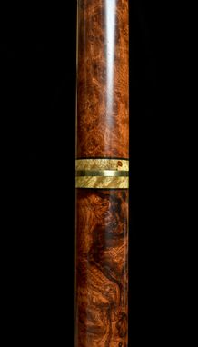 Custom Made Handmade Travel Cane In Amboyna Burl And Brass, Exhibition Quality