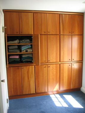 Custom Made Built-In Closet Wall With Solid Cherry Doors