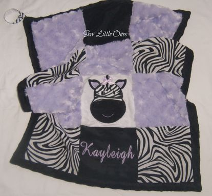 Custom Made Lavender Zebra Print Personalize Patchwork Baby Security Blanket