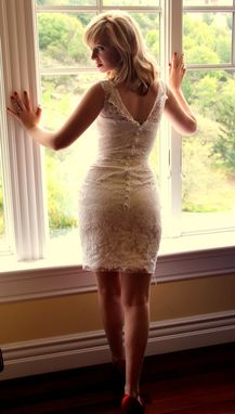 Custom Made Custom Couture Lace Wiggle Wedding Dress With Detachable Silk Chiffon Skirt
