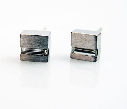 Custom Made Square Stud Diamond Earrings