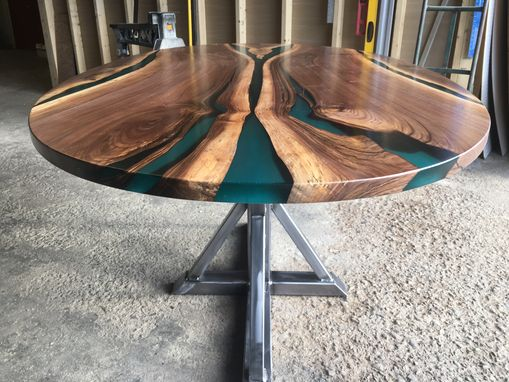 Custom Made Walnut & Resin Oval Trestle