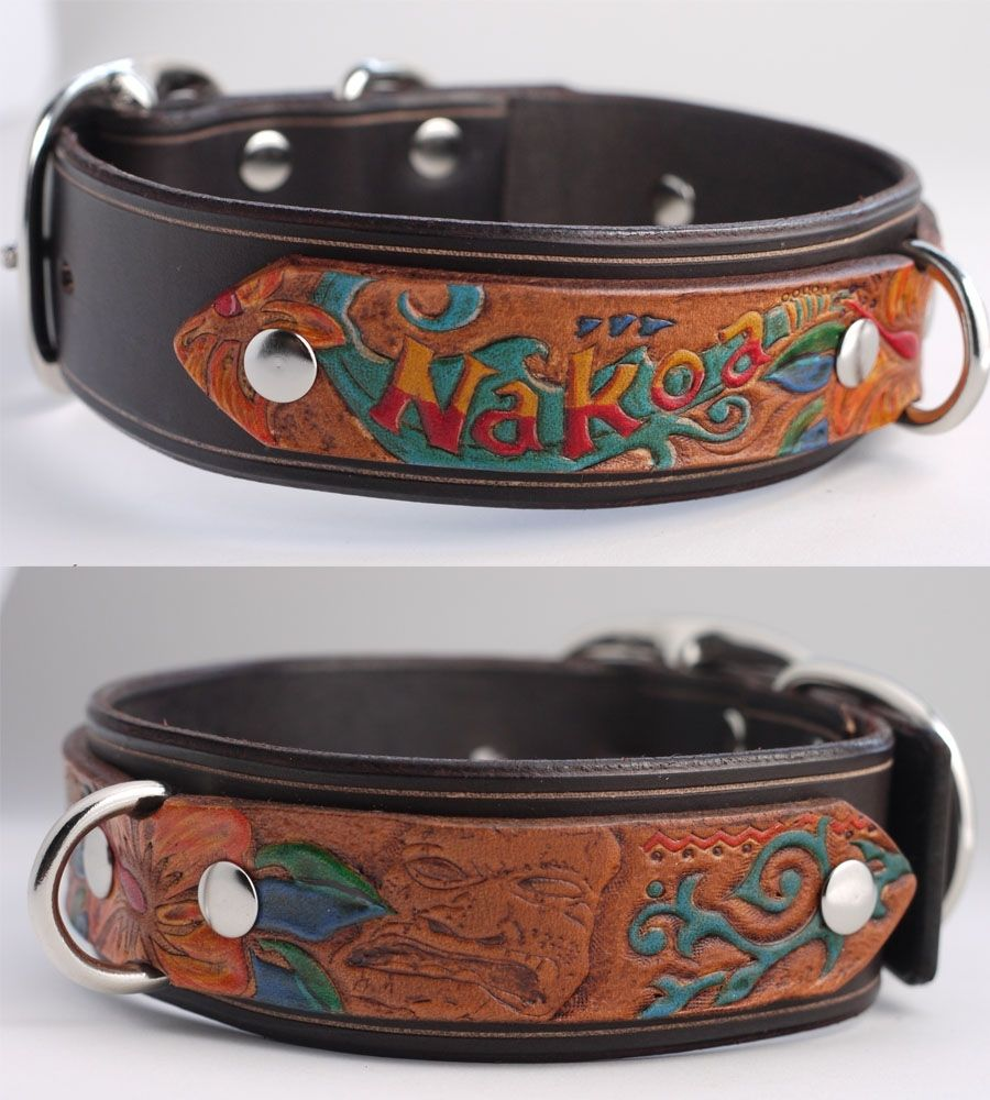 Hand Made Custom Tooled Leather Dog Collar By Seldogwear Custommade
