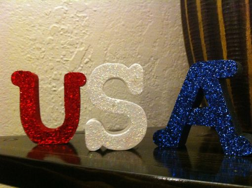 Custom Made Usa--Red, White, And Blue Mini Wood Letter Set