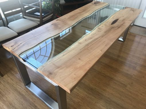 Custom Made River Glass Dining Table