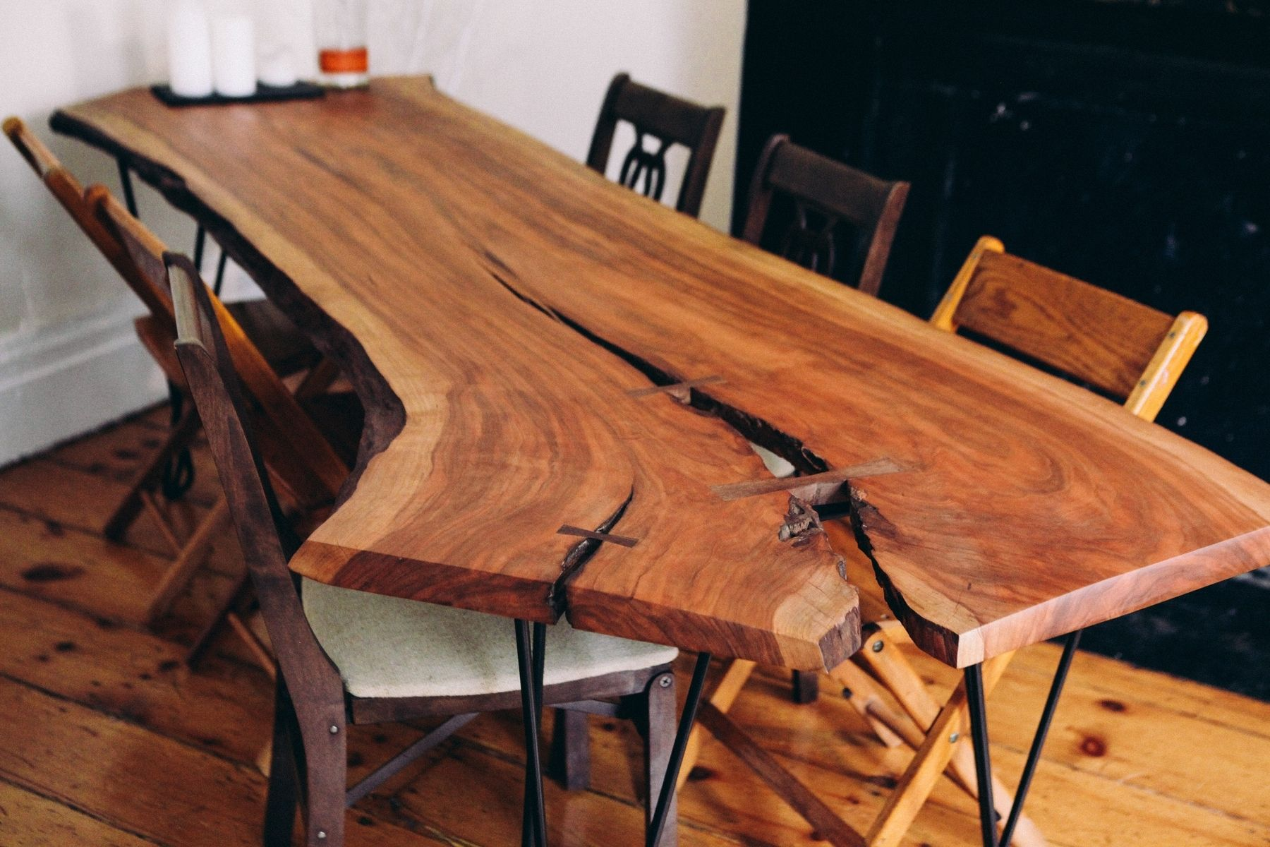 Hand Made 8 Live Edge Cherry Slab With Custom Iron Legs