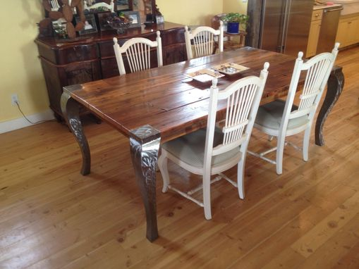 Custom Made Parson's Fence Rail Table In A Farm House Setting
