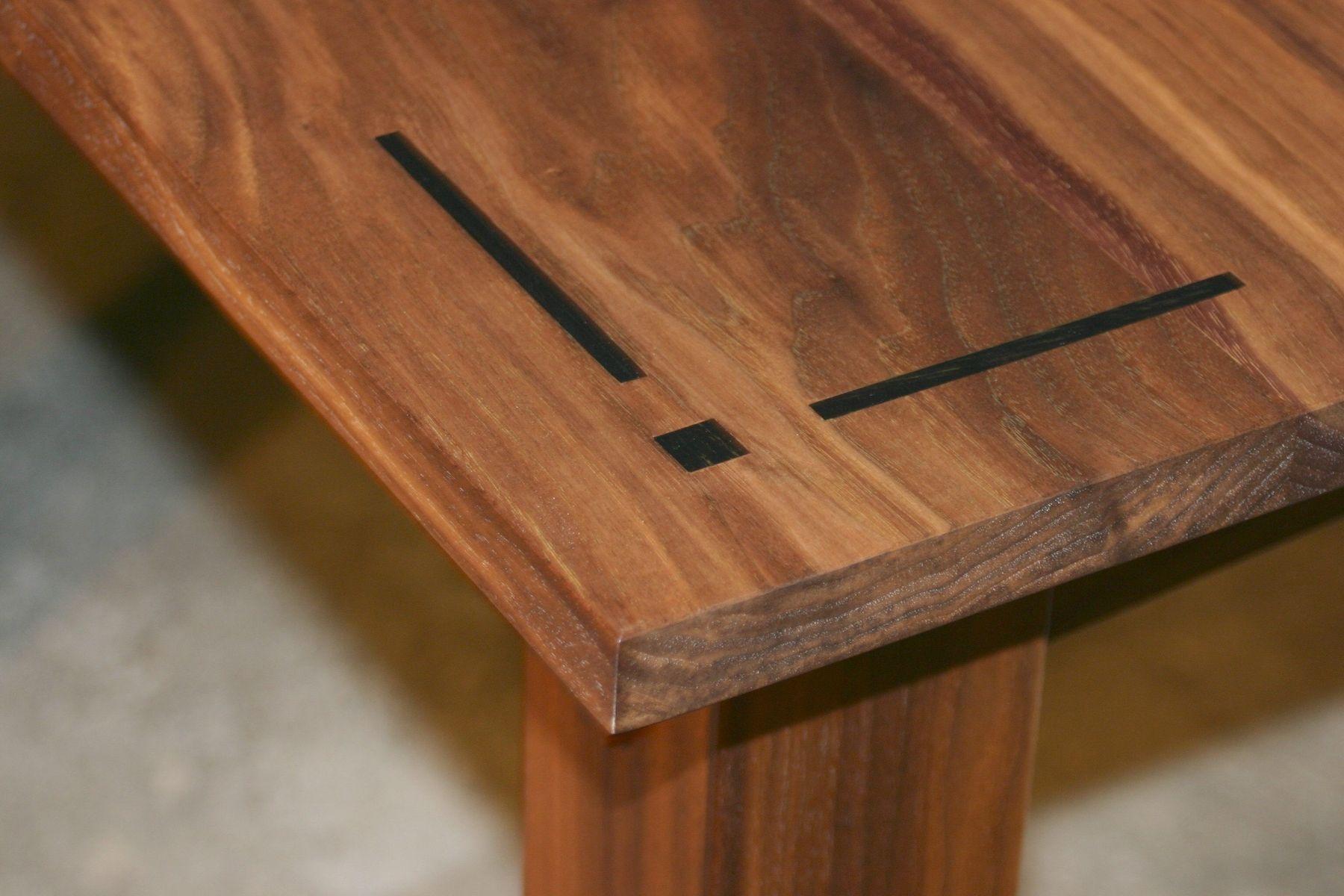 Custom Made Walnut Dining Table Detail Of Ebony Inlay