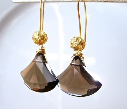 Custom Made Bridesmaid Earrings Gold And Smokey Quartz Earrings