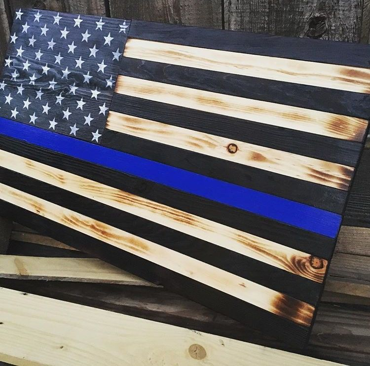 Buy a Hand Made Rustic Thin Blue Line Wooden Flag, made to order ...