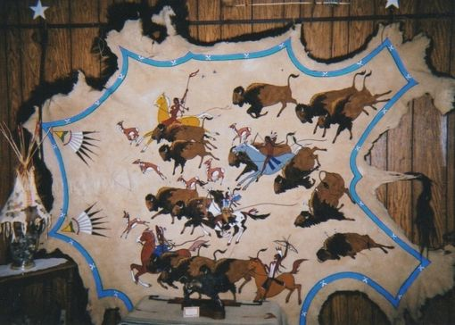 Custom Made Buffalo And Deer Hide Paintings