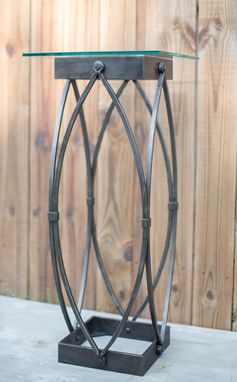 Custom Made Gothic Arch Pedestal End Table