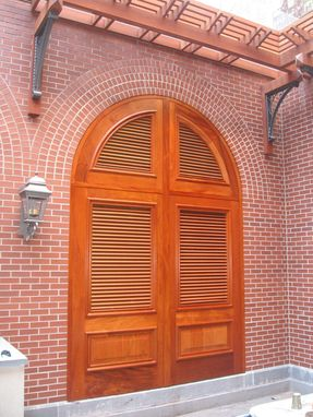 Custom Made Solid Mahogany Arched Louvered Doors