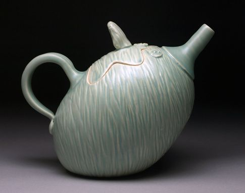 Custom Made Green Textured Teapot