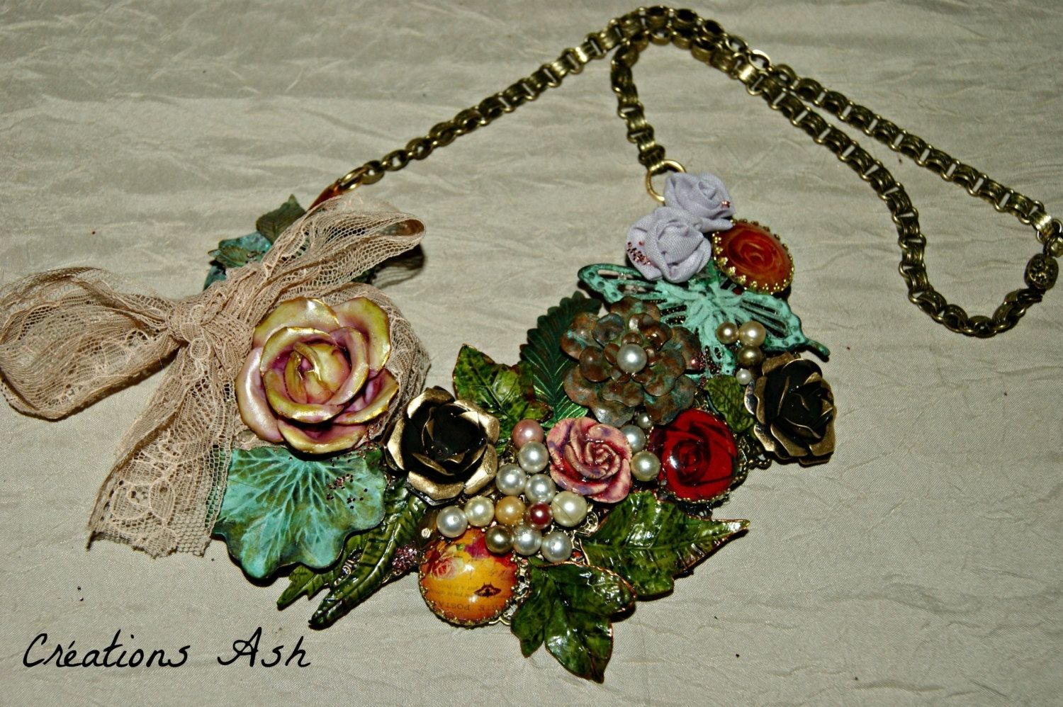 Rose Garden Creations: Hand Crafted Shabby Chic Assemblage Necklace