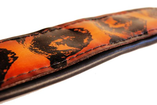 Custom Made Leather Guitar Strap Padded And Printed With Bears Handmade