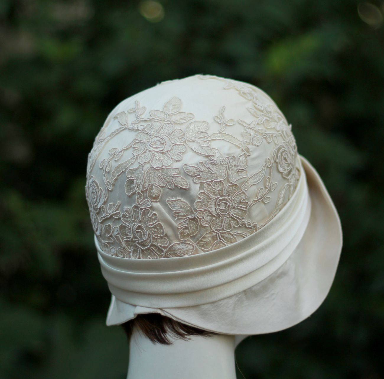 1f30db7f Custom 1920s Vintage Style Great Gatsby Cloche Wedding Hat In Ivory And Lace  by Gail's Custom Hats | CustomMade.com
