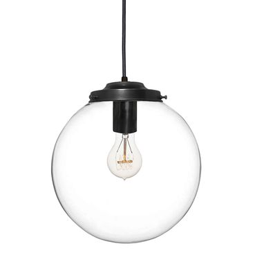 "Custom Made 8"" Clear Blown Glass Globe Pendant Light- Black"