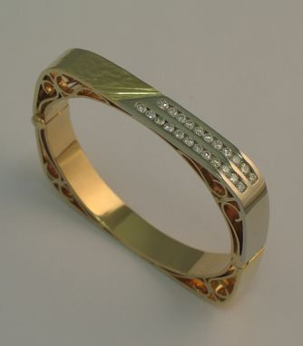 Custom Made Squared Style Diamond And 18kt/19kt./20kt. Gold Bracelet