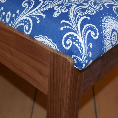 Custom Made Handcrafted Walnut Traditional Upholstered Chairs