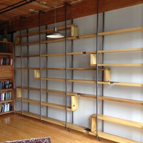 Wood And Steel Floating Book Shelves By Joshua Ingold