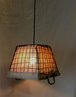 Custom Made Burlap Basket Pendant Light