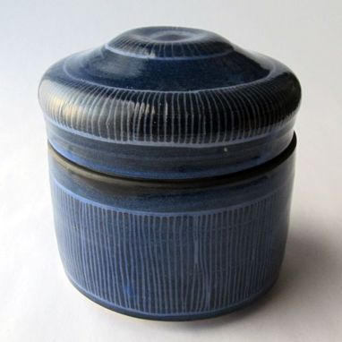 Custom Made Handmade Stoneware Covered Jar With Carved Pattern Blue Haze