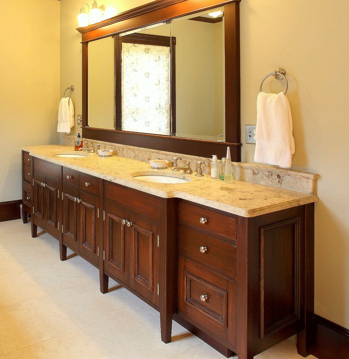 Hand Made Double Sink Bath Vanity By Benchmark Woodworks - Custom made bathroom vanity units for bathroom decor ideas