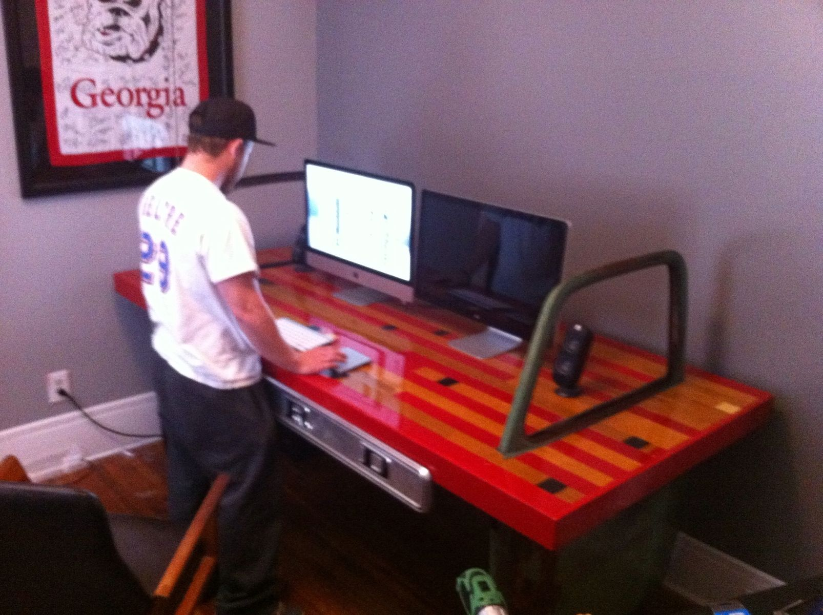 Custom Desk Made Of Old Truck Doors And Reclaimed Gym