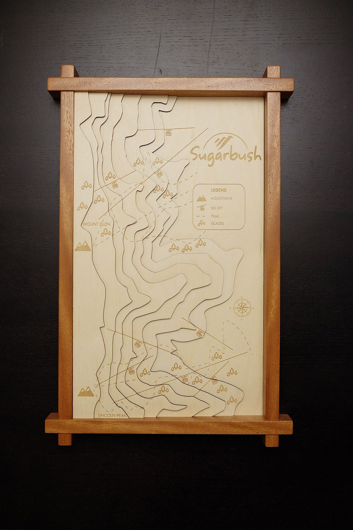 Handmade Custom 3d Engraved Wood Contour Map by Classic Engraving ...