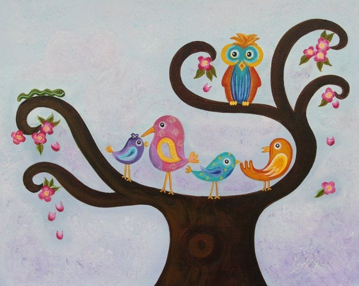 Custom Made Bird Owl Baby Nursery Art Kids Wall Painting Not A