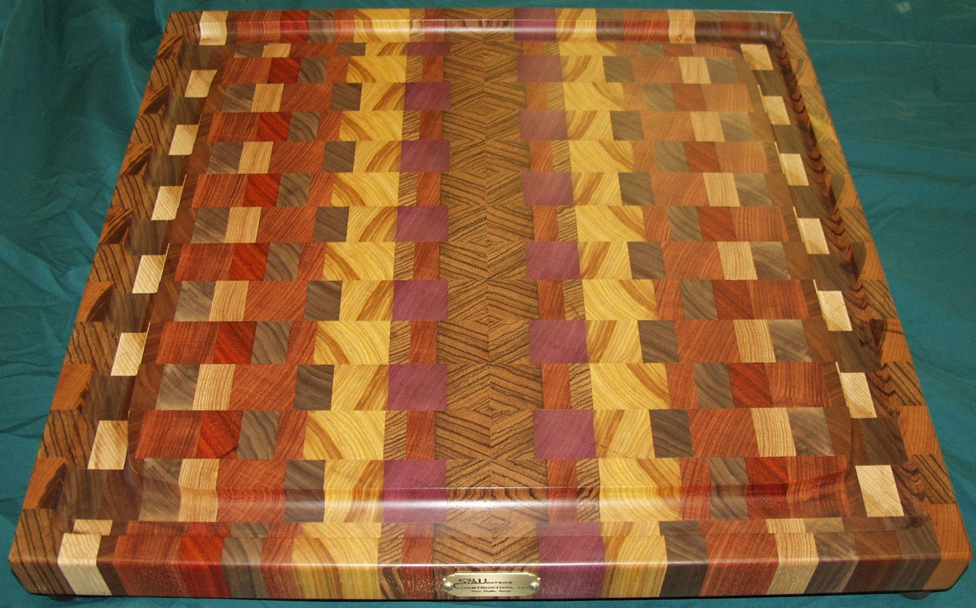 Handmade Exotic Woods End Grain Cutting Board Platter By