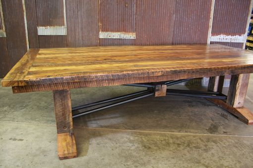 Custom Made Large Barnwood Trestle Table